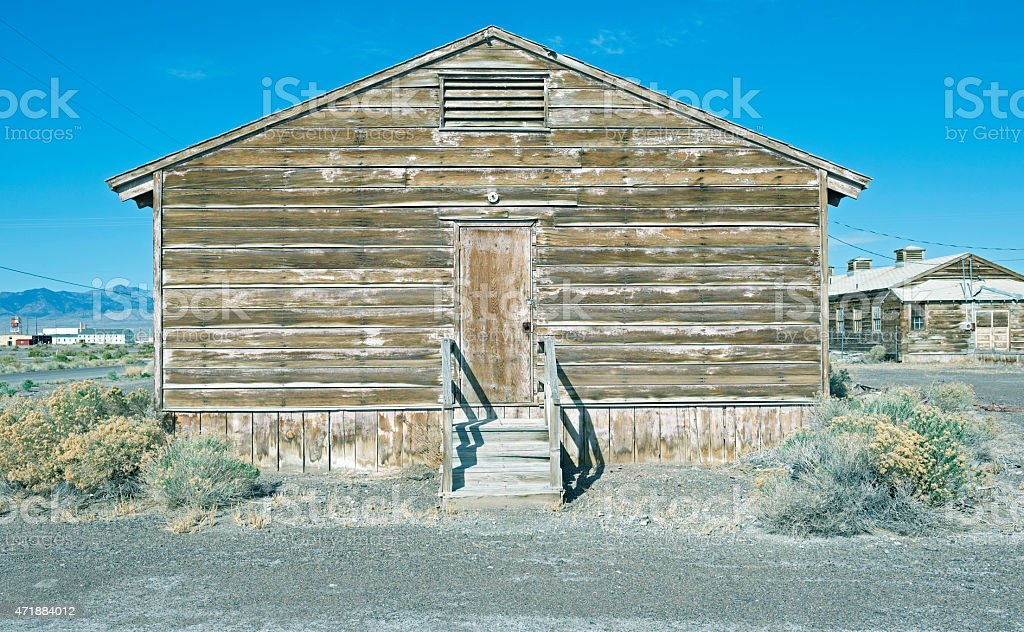 Abandoned barracks at disused air force base in Nevada stock photo