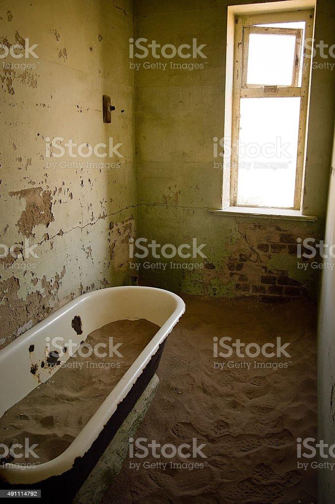 Abandoned bath room stock photo