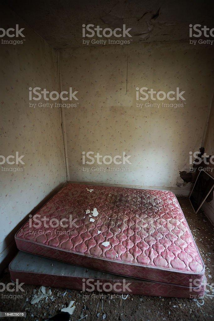 Abandoned bedroom. stock photo