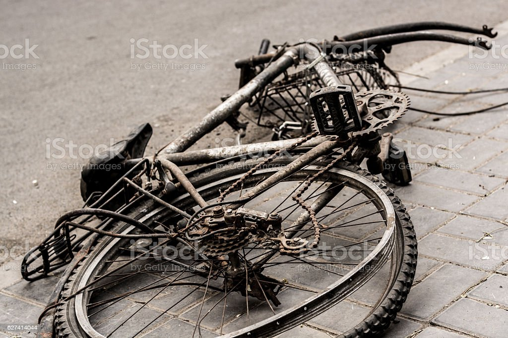 Abandoned bike in the streets of Beijing stock photo