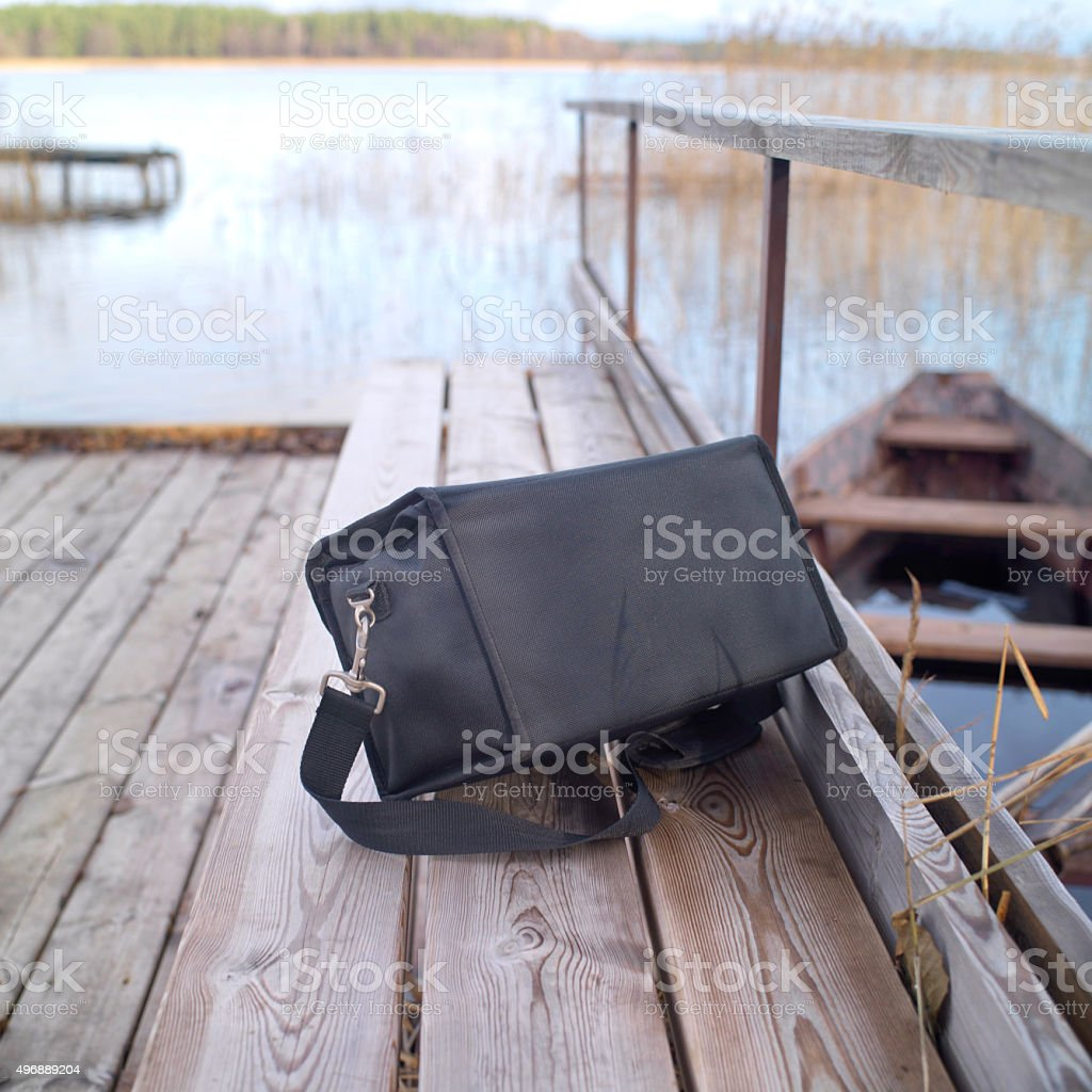 Abandoned Black Bag stock photo