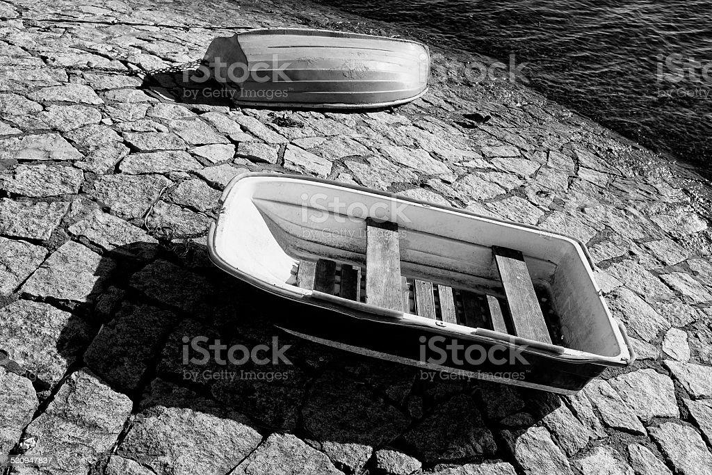 Abandoned Boat. Black and White stock photo