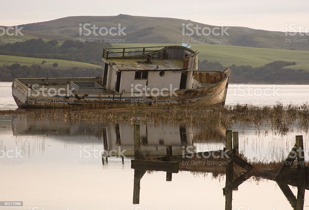 Abandoned boat in Point Reyes, CA royalty-free stock photo