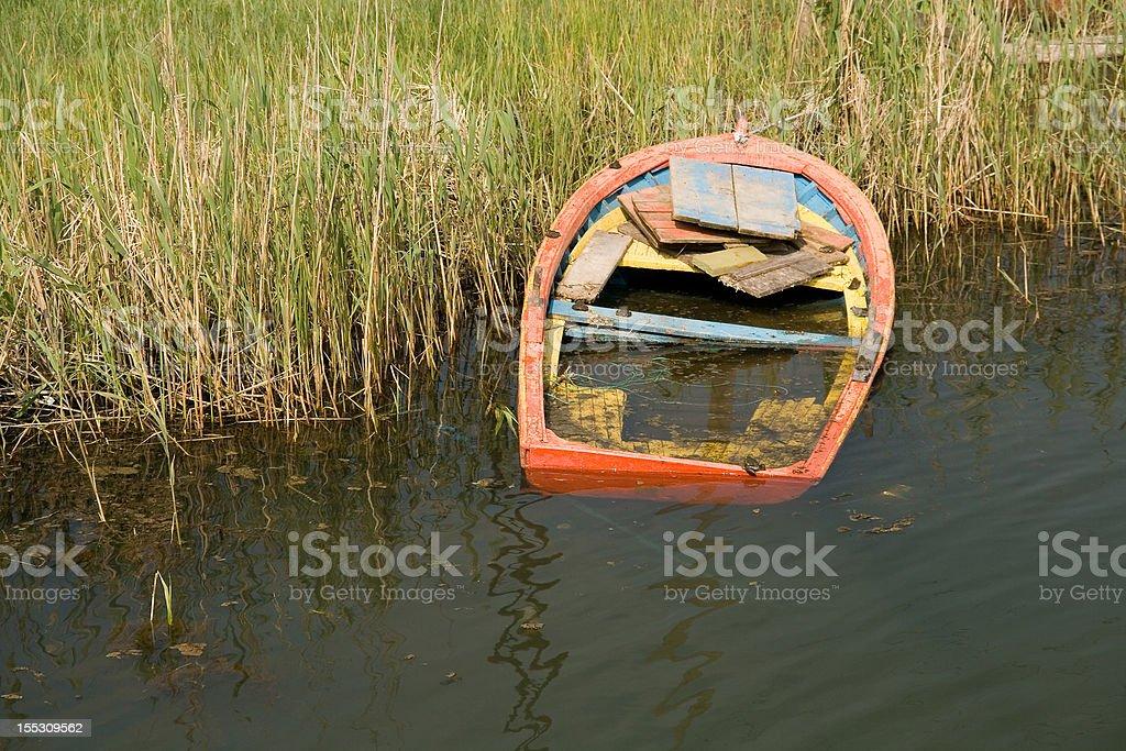 Abandoned boat on the bank, Kiyikoy (Medea), Turkey stock photo