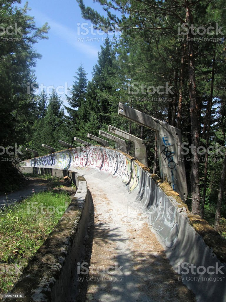 Abandoned bobsleigh track stock photo