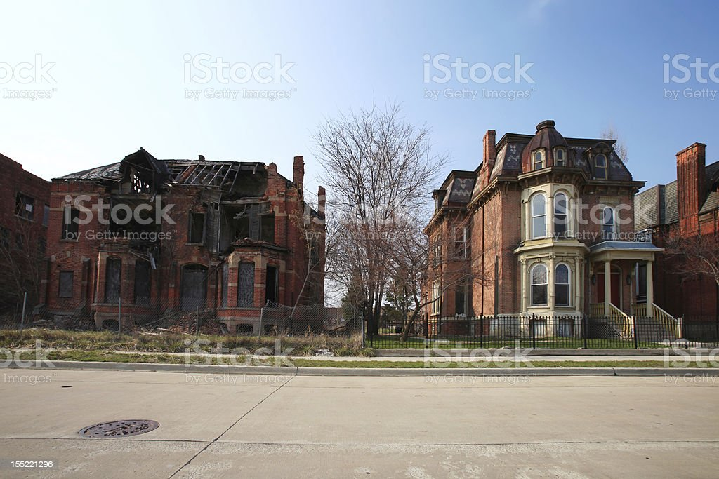 Abandoned brick houses, Detroit, Michigan stock photo
