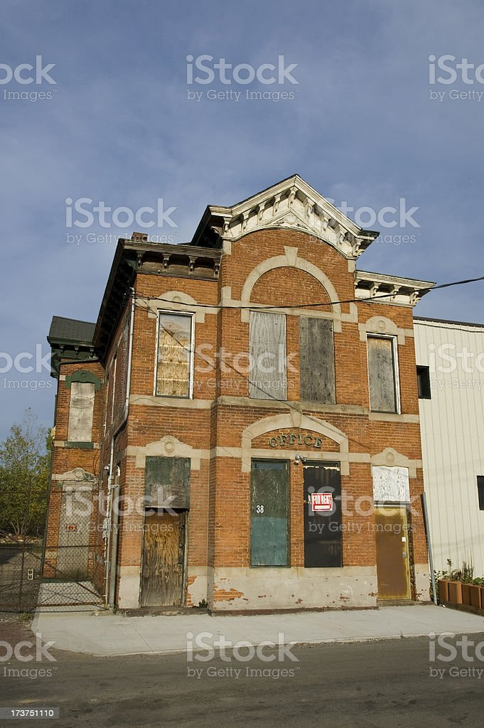 Abandoned Brick Office Building stock photo