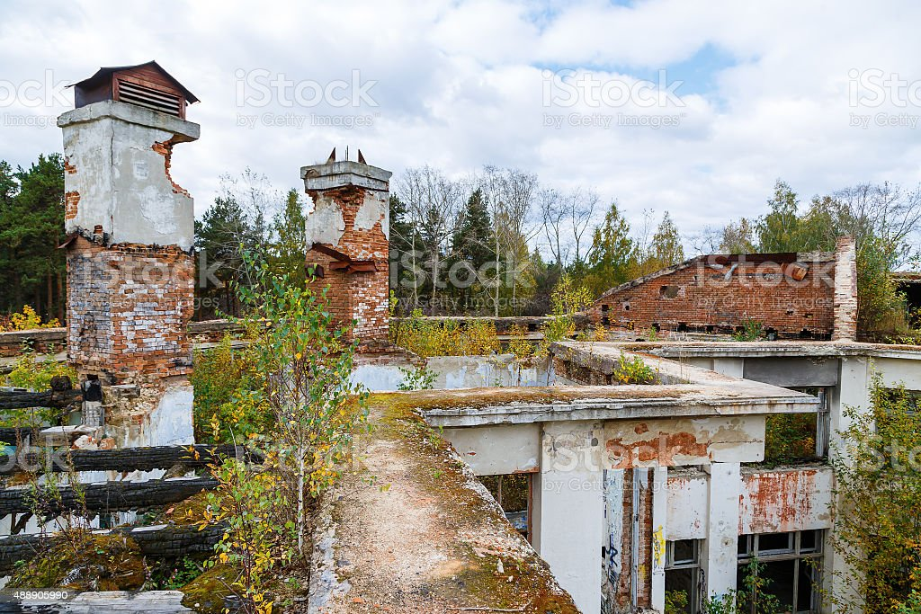 abandoned building autumn day stock photo