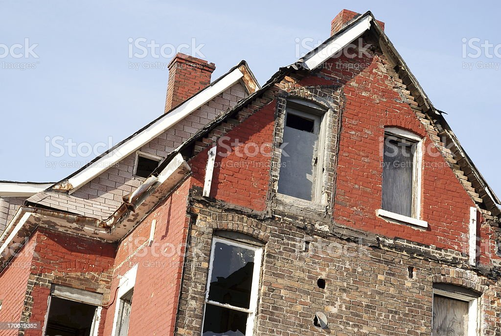 Abandoned Building Awaits Demolition royalty-free stock photo