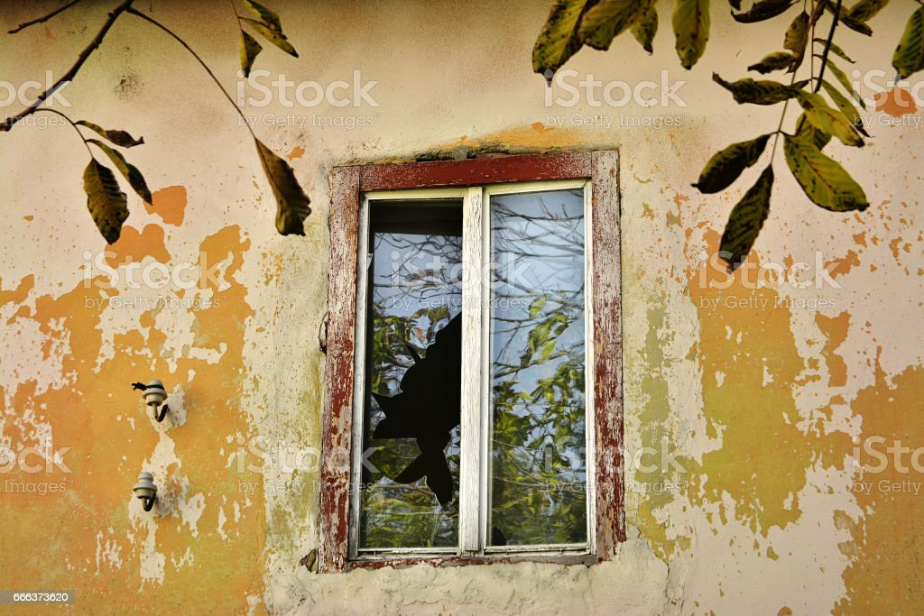 Abandoned building detail stock photo