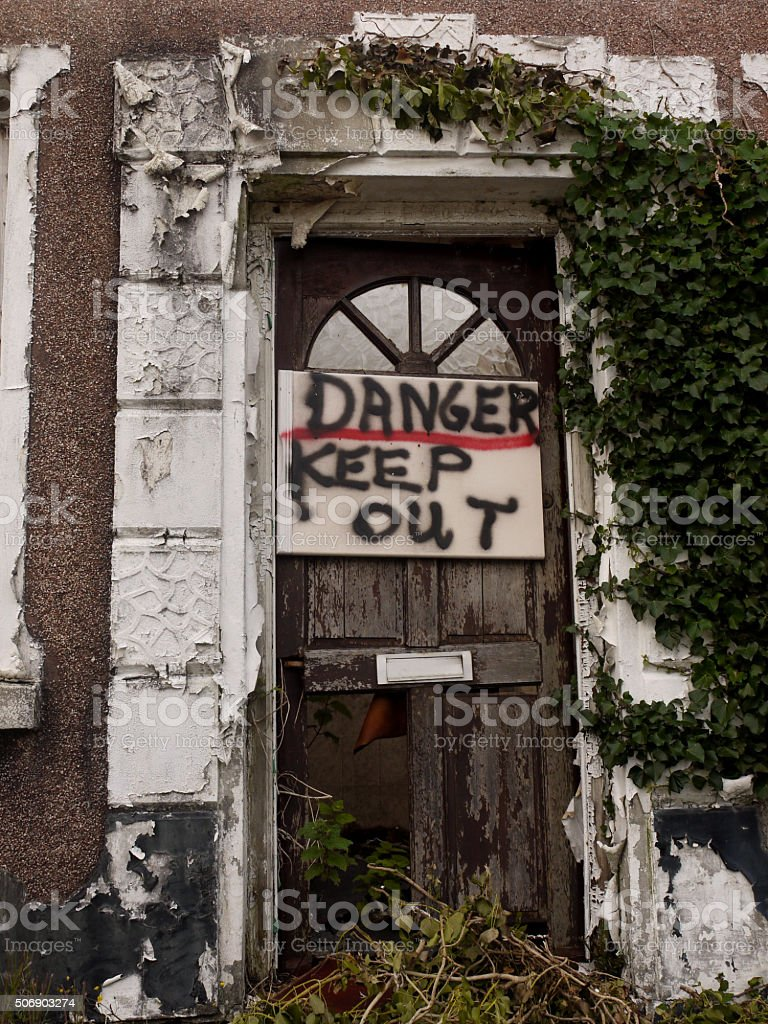Abandoned Building Door stock photo