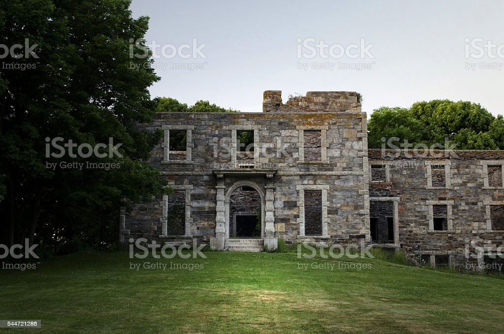 Abandoned Building in Fort Williams Park, Portland, Maine stock photo