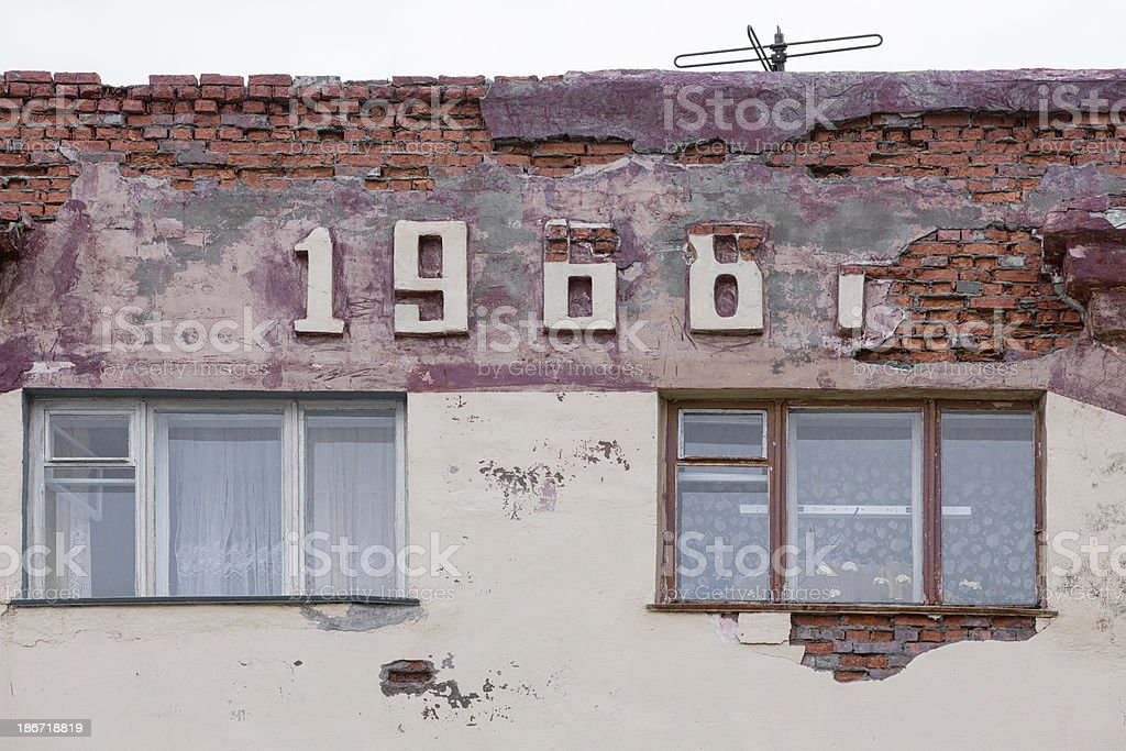Abandoned Building in ghost town 1968 stock photo