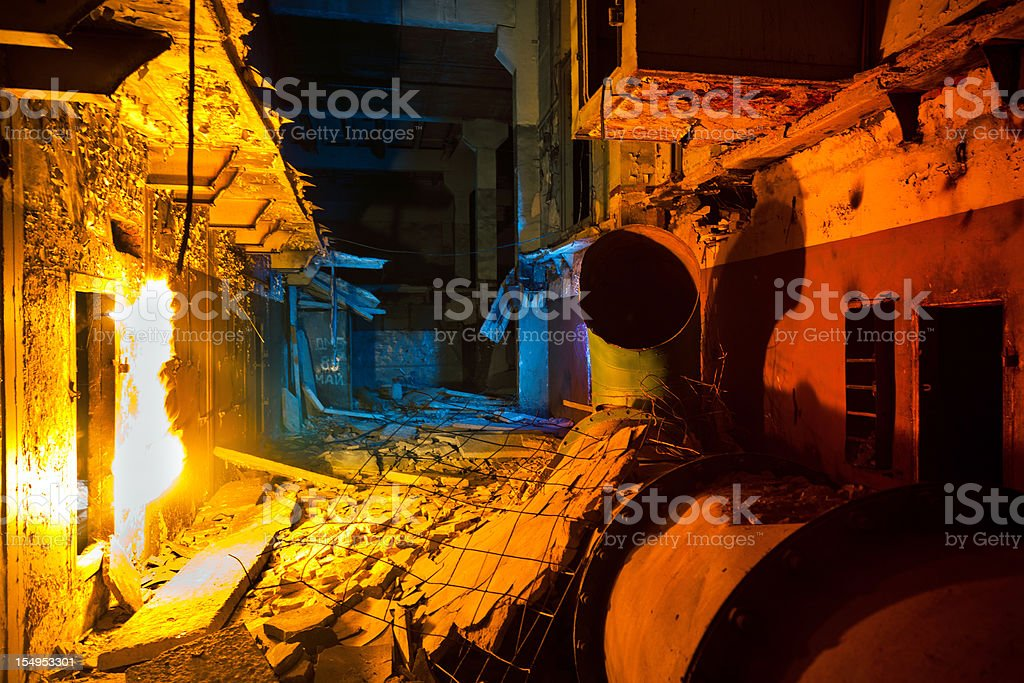 Abandoned building inside of russian radar system stock photo