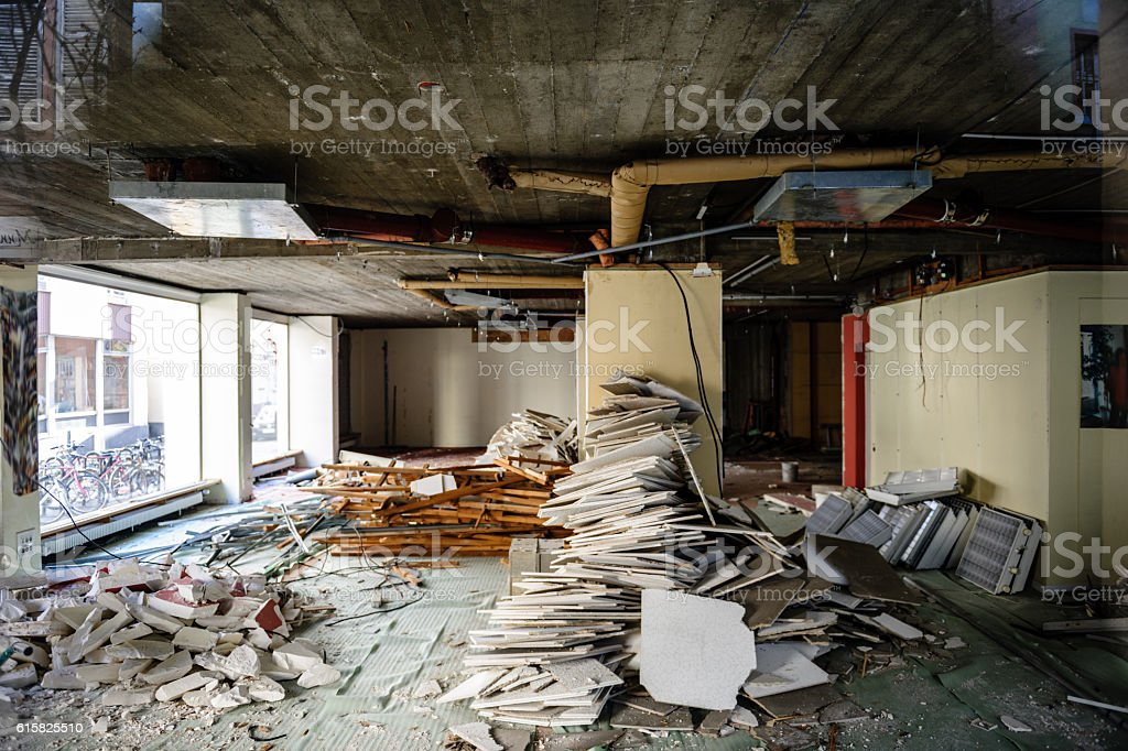 Abandoned building of business office store stock photo