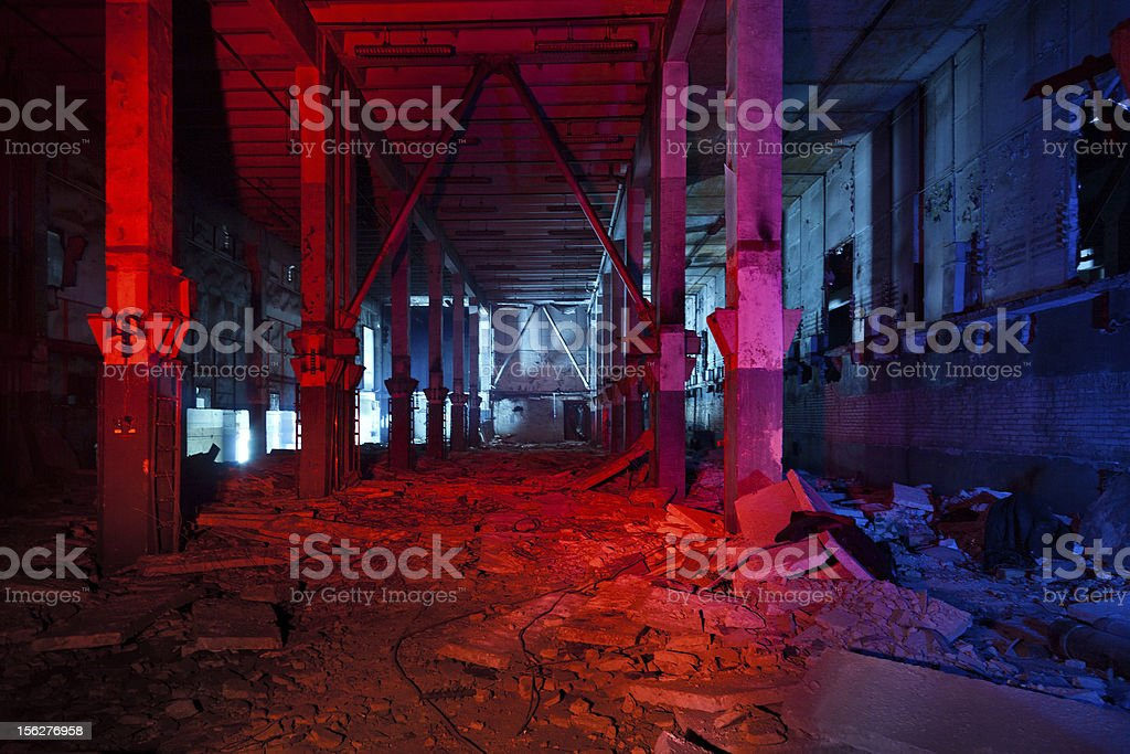 Abandoned building of military radar system stock photo