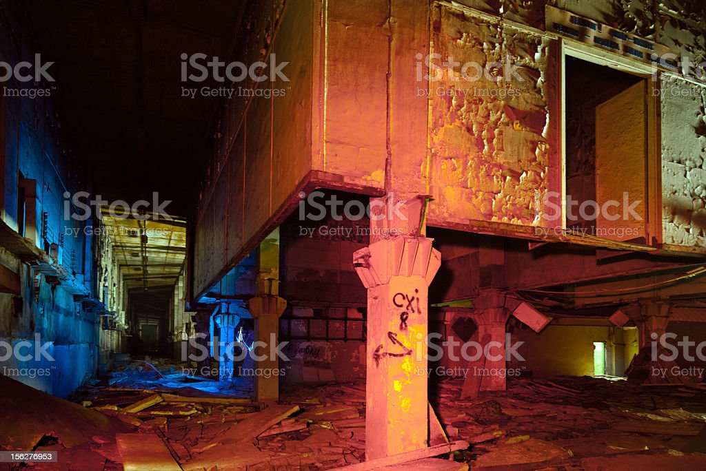 Abandoned building of radar system Dunai-3U stock photo