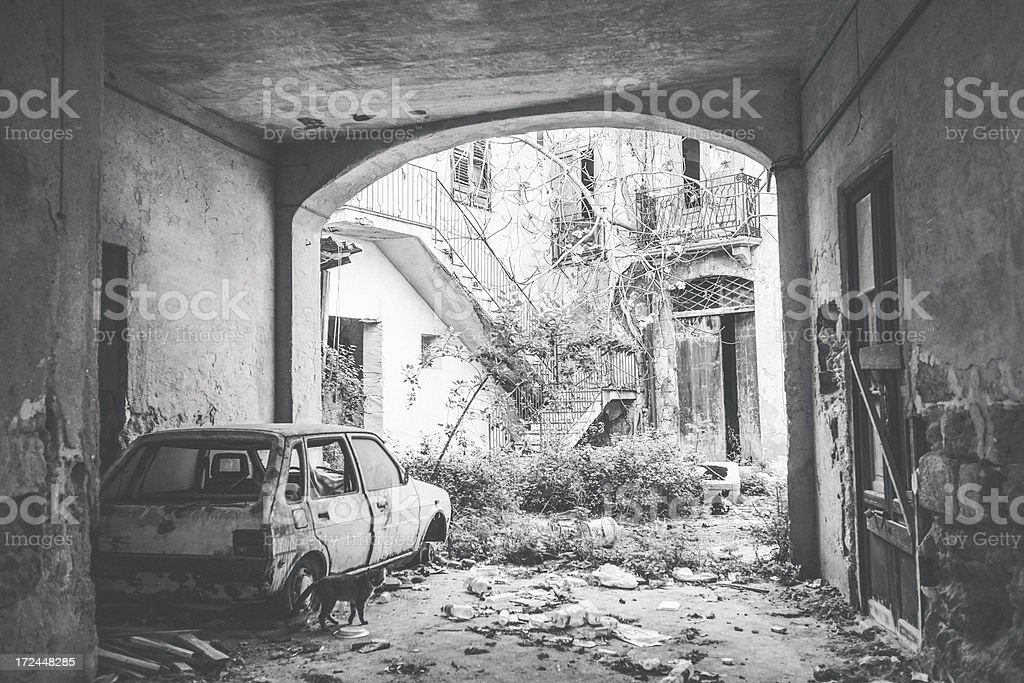 Abandoned buildings and car. stock photo