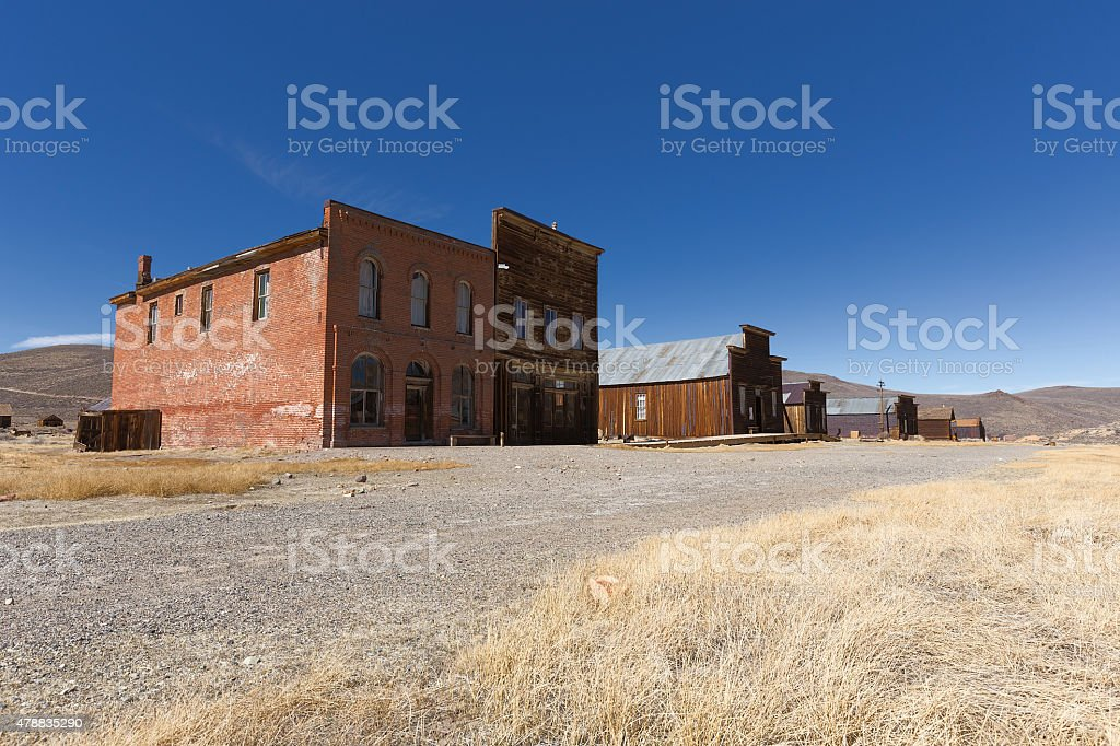 Abandoned buildings in Bodie Ghost Town Historic State Park, California stock photo