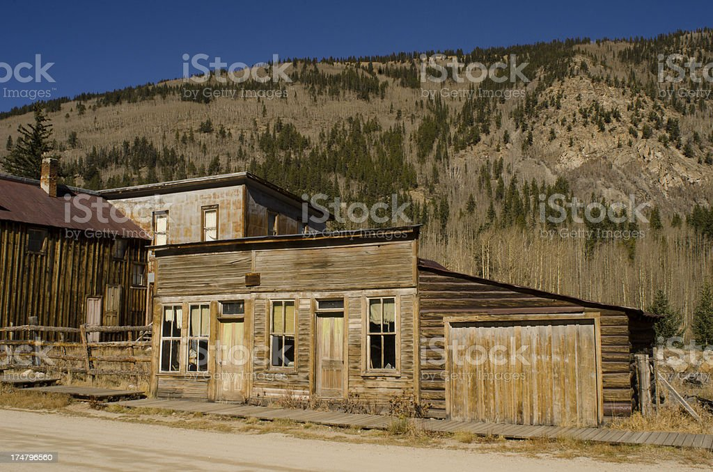 Abandoned Buildings in Ghost Town royalty-free stock photo