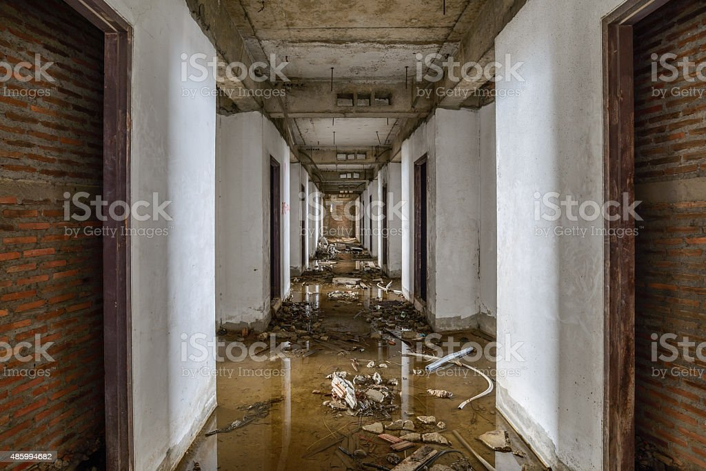 Abandoned buildings were flooded. stock photo