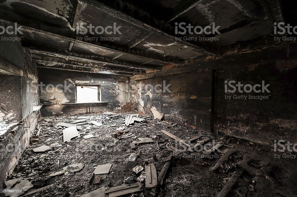 Abandoned burned out building stock photo