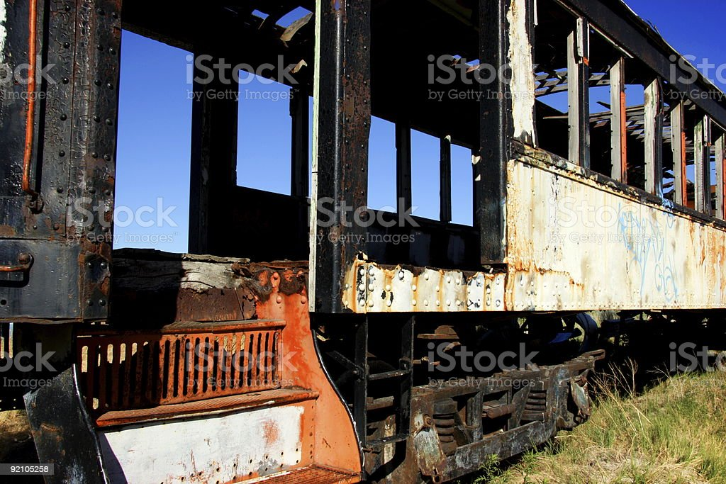 abandoned burned out train car royalty-free stock photo