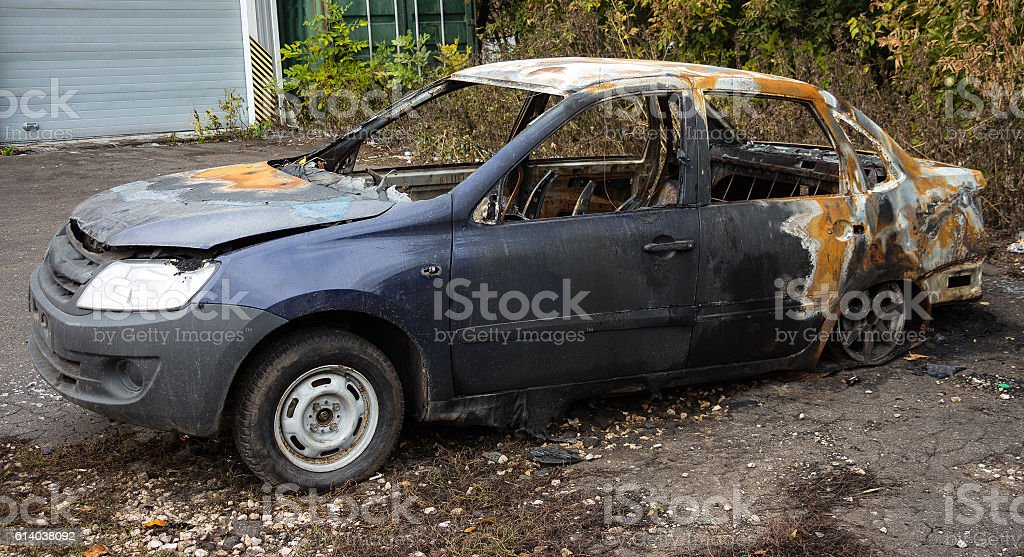 Abandoned Burnt Car 2 stock photo