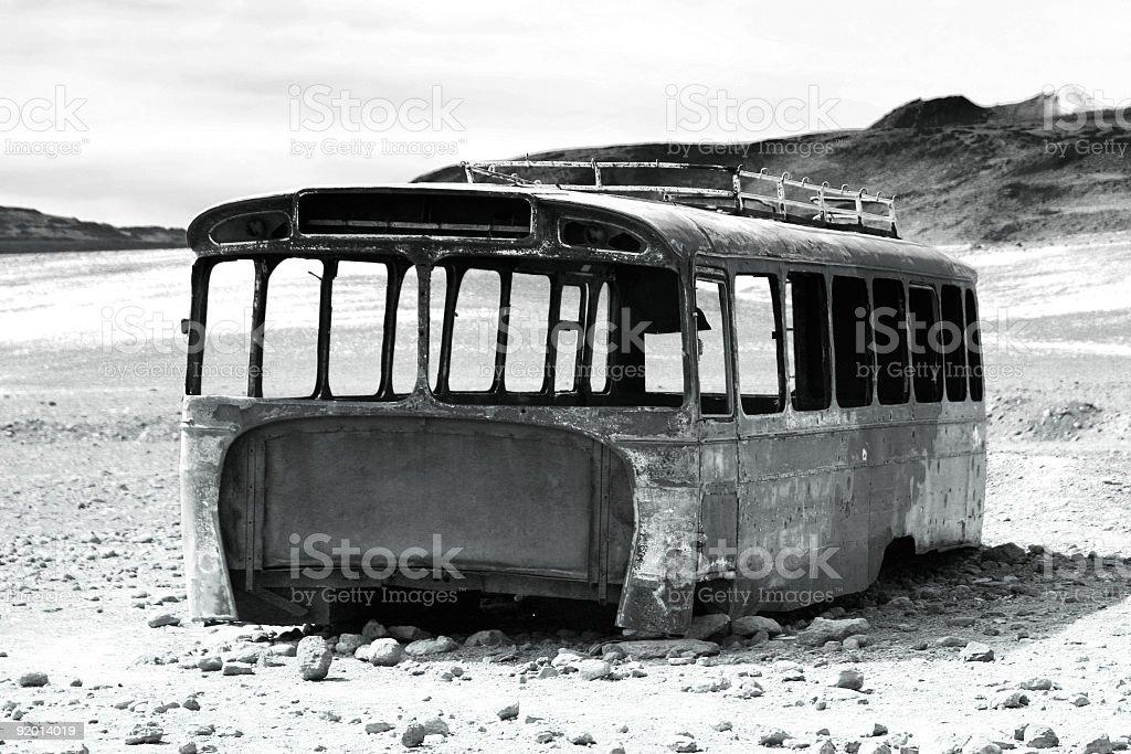 Abandoned bus at the Chile-Bolivian border royalty-free stock photo