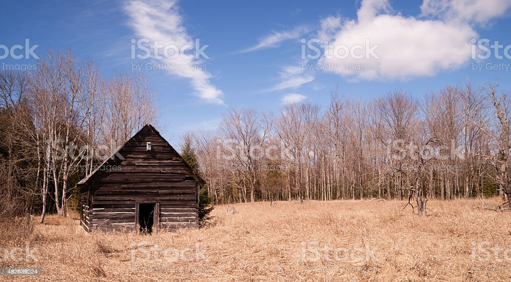 Abandoned Cabin Rural Countryside Northern Winter USA stock photo