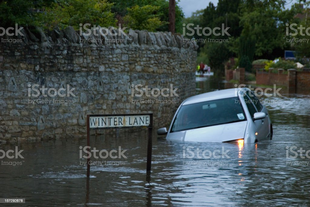 Abandoned Car in rural Flooding royalty-free stock photo