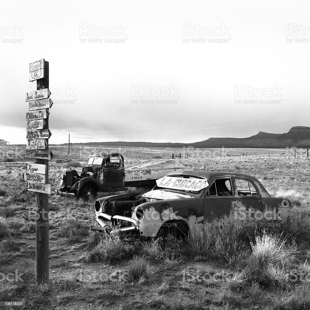 Abandoned Cars in Desert Field, Black and White royalty-free stock photo