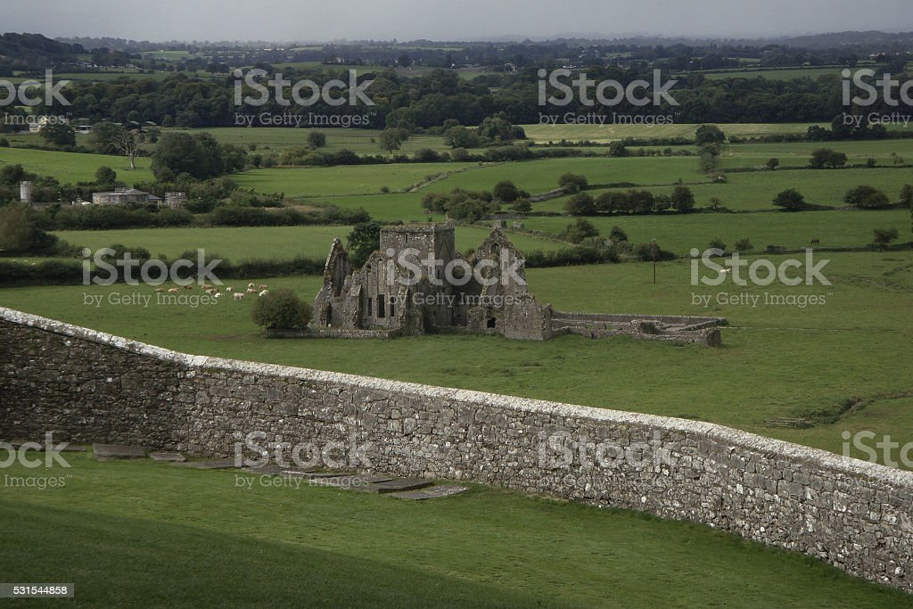 Abandoned castle in Irish valley stock photo