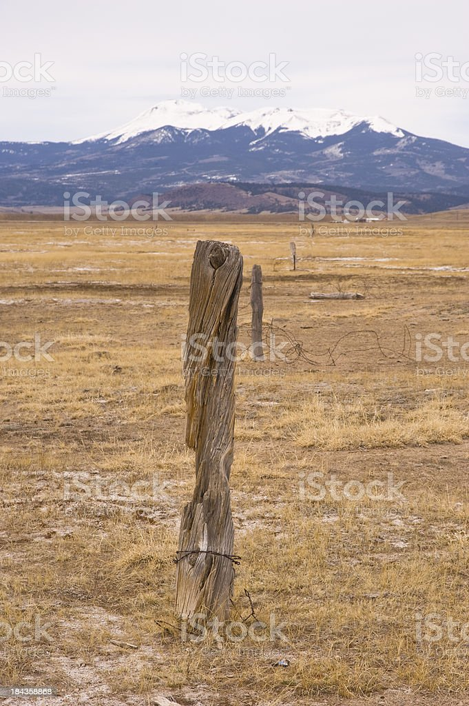 Abandoned Cedar Fence and Buffalo Peaks stock photo