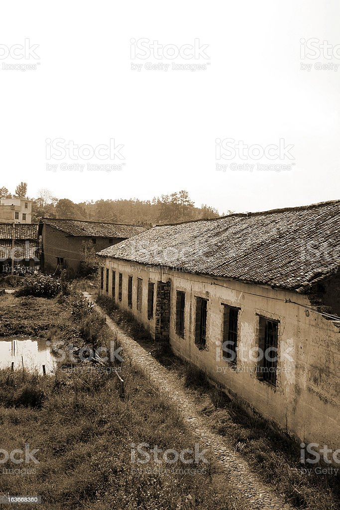 Abandoned Chinese Rural Houses, Longnan royalty-free stock photo