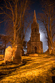 Abandoned Church and graveyard at night