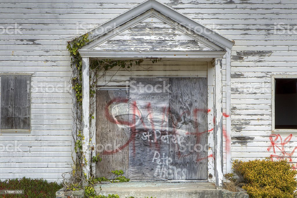 Abandoned Church Defaced with  Graffiti royalty-free stock photo