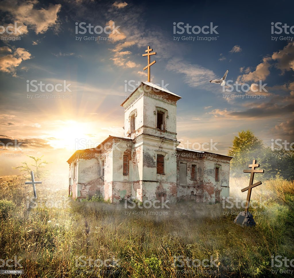 Abandoned church stock photo