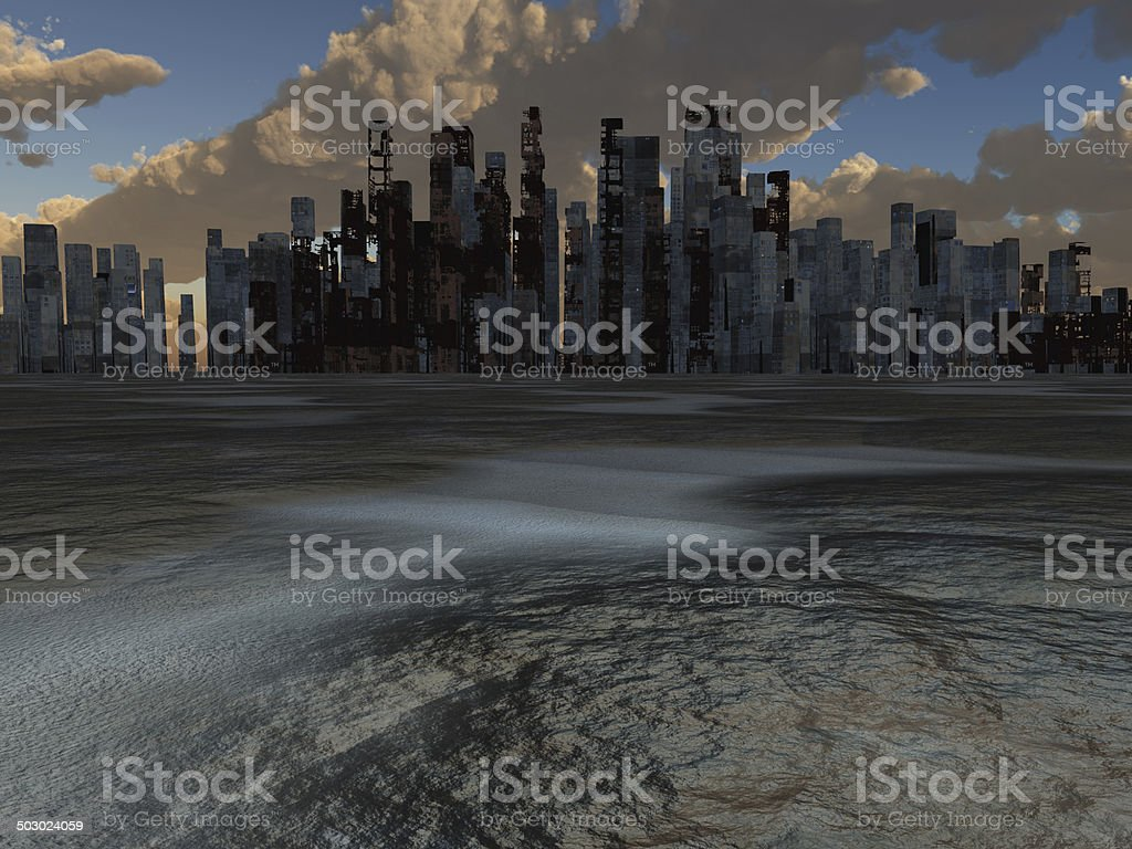 Abandoned City and baked earth vector art illustration