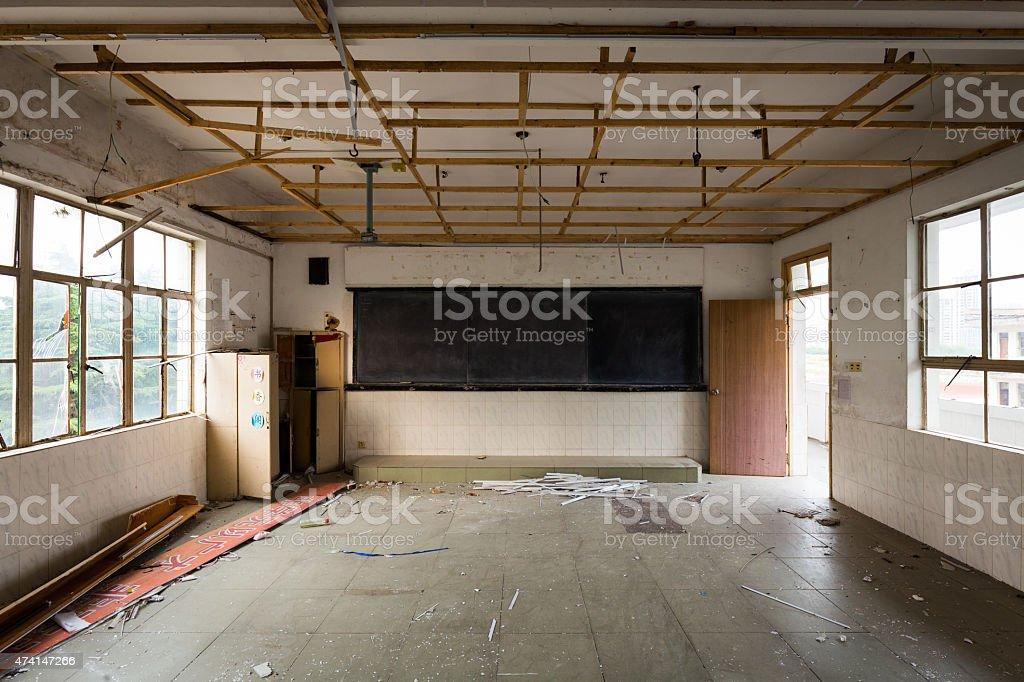 Abandoned Classroom stock photo