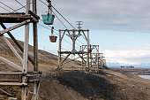 Abandoned coal cable cars and tramway, Longyearbyen, Svalbard, Norway
