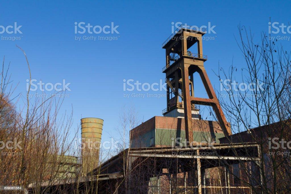 Abandoned Coal Mining Headframe / NRW Germany stock photo