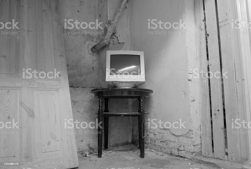 Abandoned Computer Monitor royalty-free stock photo