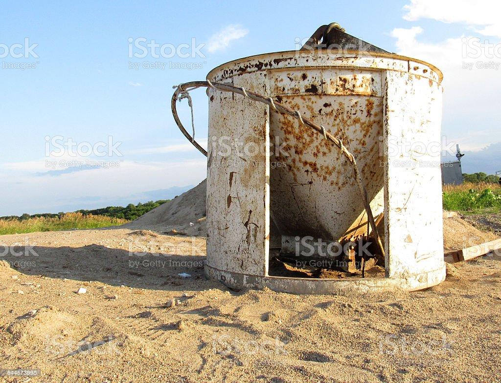 Abandoned Concrete Bucket stock photo