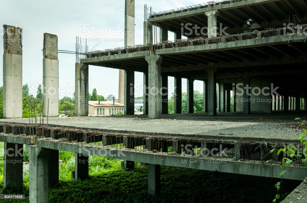 Abandoned construction site building. stock photo