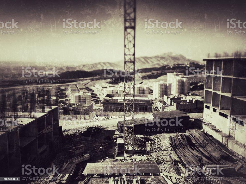 Abandoned Construction Site (Vintage) stock photo