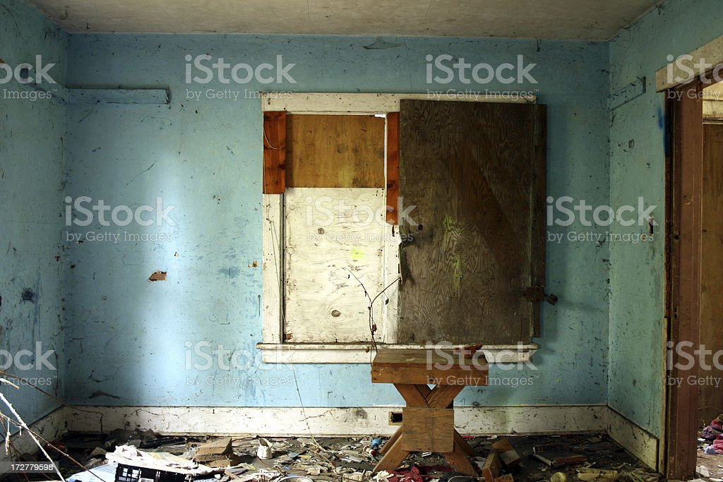 Abandoned damaged blue room background royalty-free stock photo