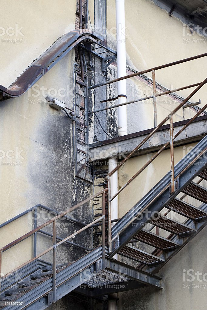 Abandoned Damaged Industrial Factory Stairs stock photo