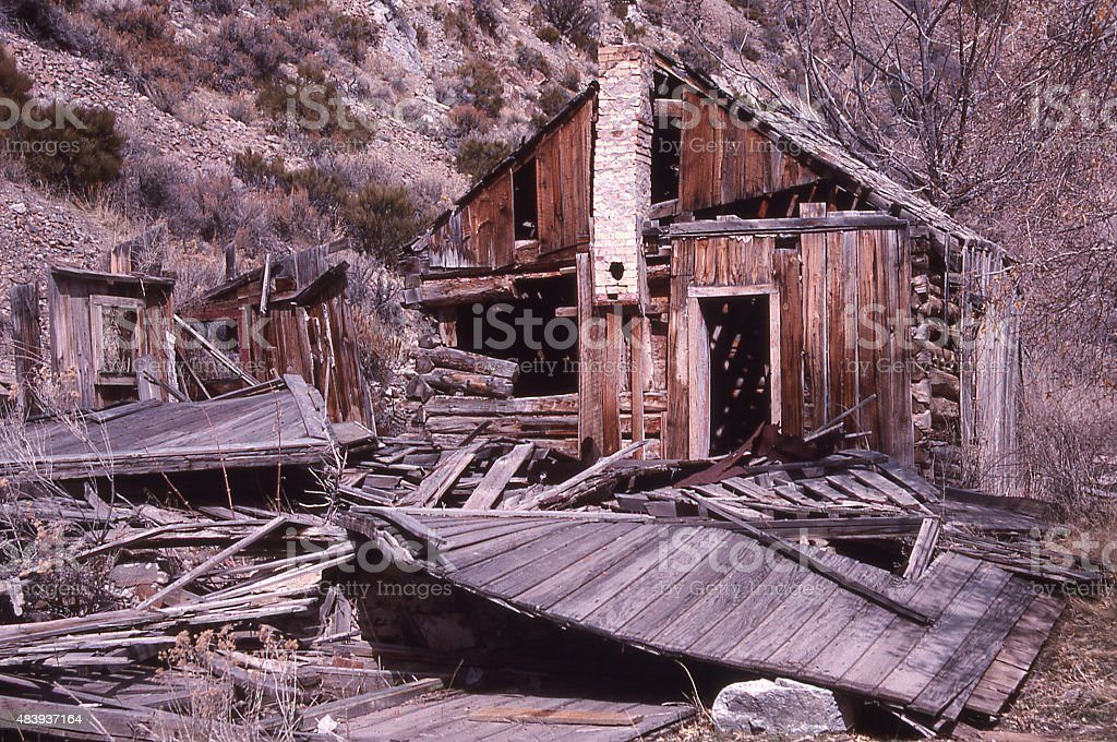 Abandoned degraded mining cabins Ophir Ghost Town Oquirrh Mountains  Utah stock photo