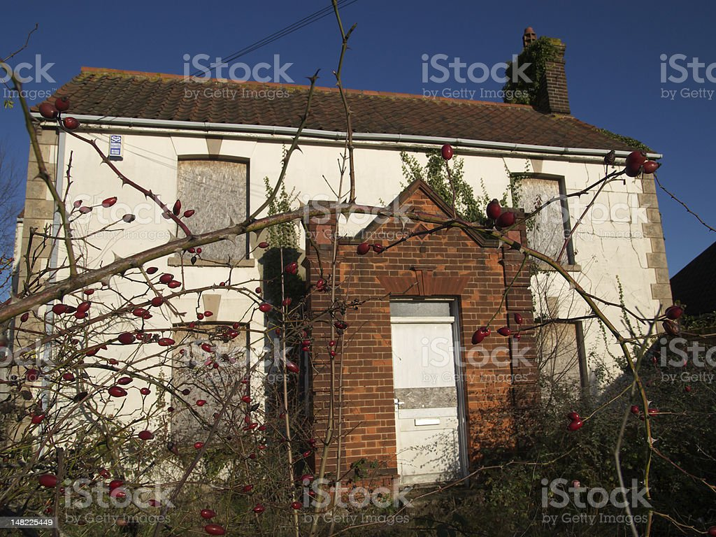 Abandoned , derelict house. stock photo